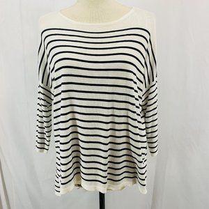 H& M Cream And Black Stripe Lightweight Sweater
